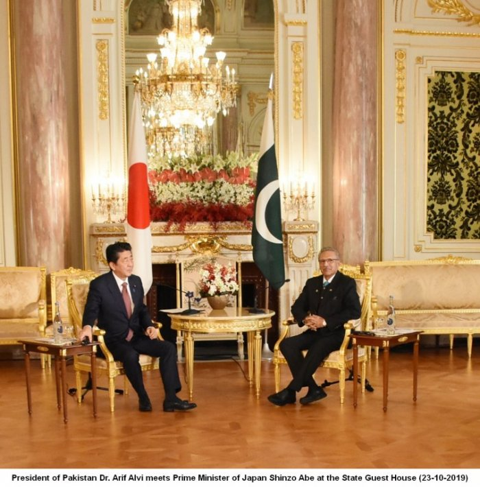 President Dr. Arif Aliv meets Prime Minister of Japan Shinzo Abe at the State Guest House (23.10.2019)