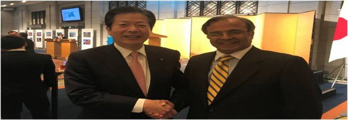 Ambassador Khan with Senator Natsuo Yamaguchi Chief of Komeito Party at the Kazhakistan's national day reception.